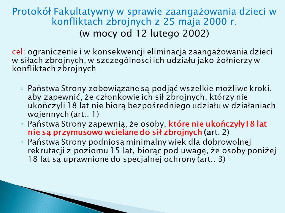 Protokół Fakultatywny w sprawie handlu dziećmi, prostytucji dziecięcej i pornografii dziecięcej z 25 maja 2000 r.