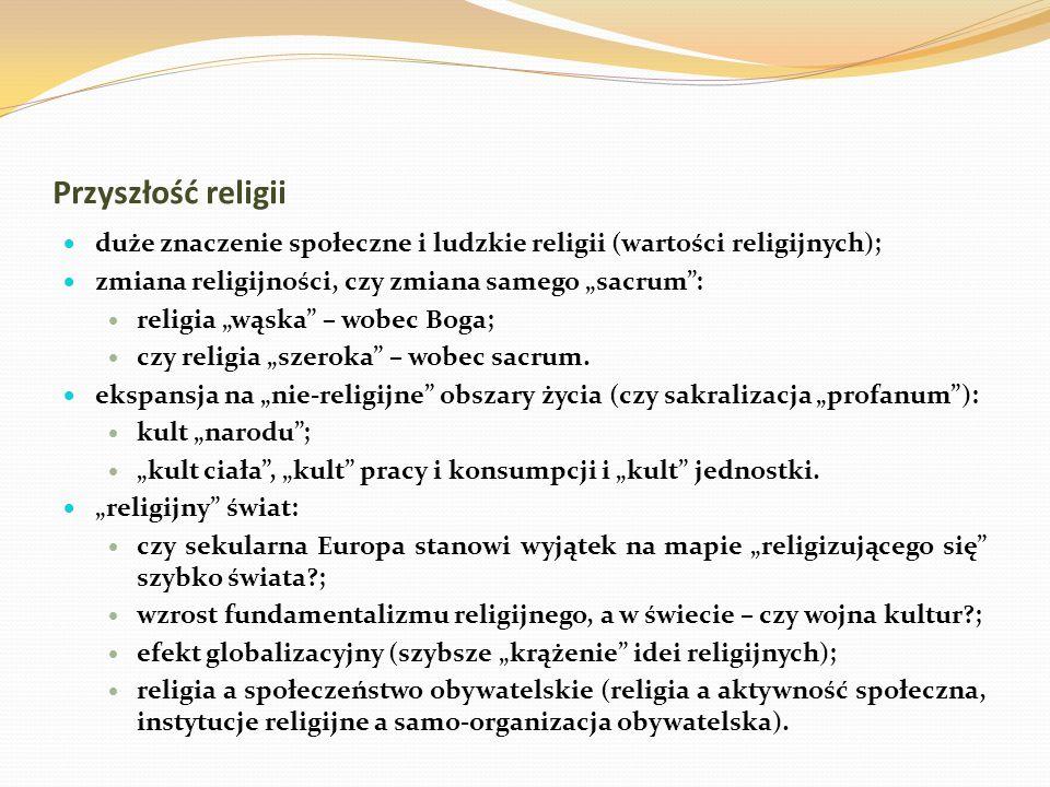 """Przyszłość religii  duże znaczenie społeczne i ludzkie religii (wartości religijnych);  zmiana religijności, czy zmiana samego """"sacrum"""":  religia """""""