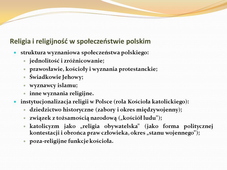 Religia i religijność w społeczeństwie polskim  struktura wyznaniowa społeczeństwa polskiego:  jednolitość i zróżnicowanie;  prawosławie, kościoły