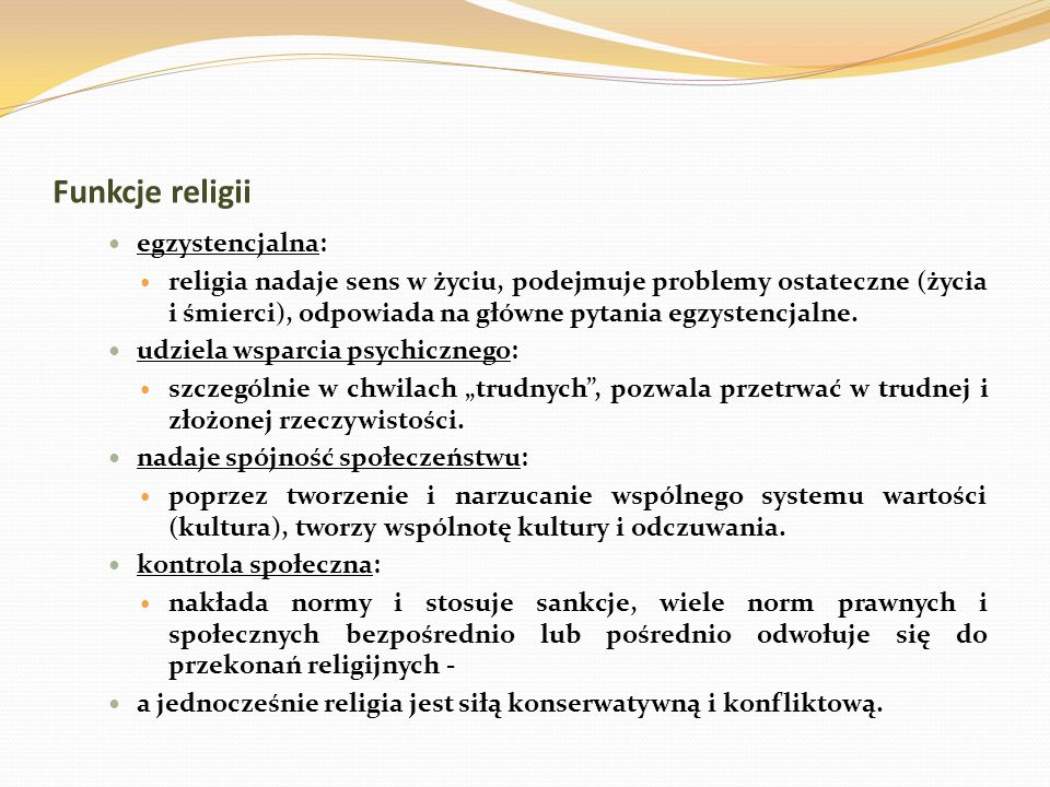 """Formy organizacji zbiorowości religijnych kościół (struktura trwała, biurokratyczna, zintegrowana ze społeczeństwem, utrzymująca, że jest jedyną drogą do """"prawdy religijnej, wiara skodyfikowana w dogmaty) – rodzaje kościołów: episkopalny (jednolita organizacja hierarchiczna – Kościół katolicki, Kościół anglikański, Cerkiew prawosławna); prezbiteriański (organizacja """"demokracji przedstawicielskiej i lokalność – Kościół prezbiteriański w USA); kongregacyjny (brak hierarchii, duże zróżnicowanie lokalne, Kościoły baptystów i kwakrów)."""