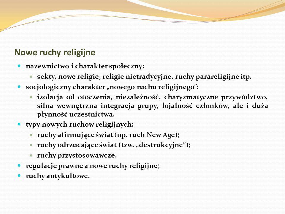 """Nowe ruchy religijne nazewnictwo i charakter społeczny: sekty, nowe religie, religie nietradycyjne, ruchy parareligijne itp. socjologiczny charakter """""""