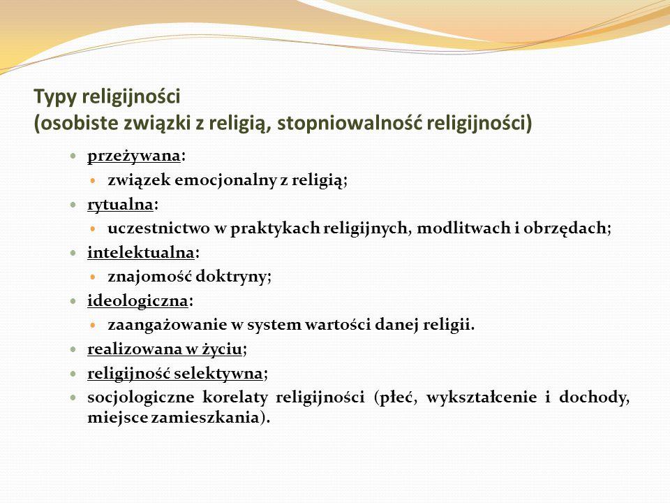 Typy religijności (osobiste związki z religią, stopniowalność religijności) przeżywana: związek emocjonalny z religią; rytualna: uczestnictwo w prakty
