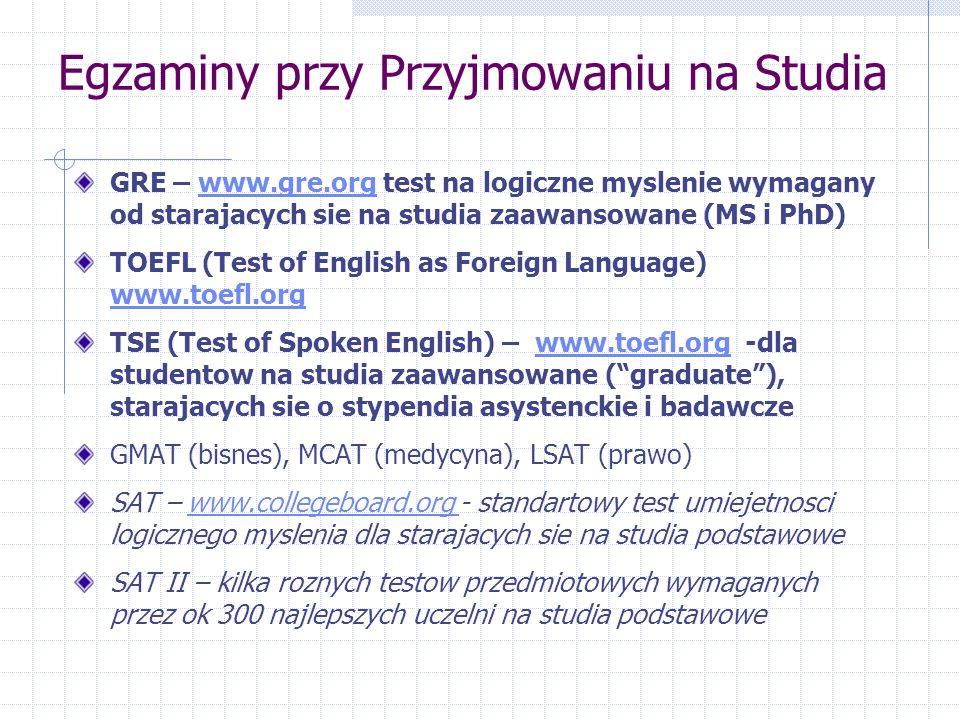 Egzaminy przy Przyjmowaniu na Studia GRE – www.gre.org test na logiczne myslenie wymagany od starajacych sie na studia zaawansowane (MS i PhD)www.gre.