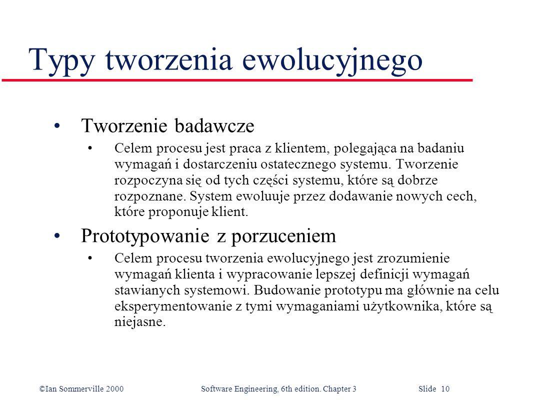 ©Ian Sommerville 2000 Software Engineering, 6th edition. Chapter 3 Slide 10 Typy tworzenia ewolucyjnego Tworzenie badawcze Celem procesu jest praca z