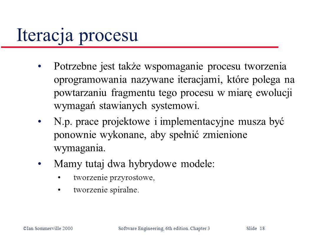 ©Ian Sommerville 2000 Software Engineering, 6th edition. Chapter 3 Slide 18 Iteracja procesu Potrzebne jest także wspomaganie procesu tworzenia oprogr