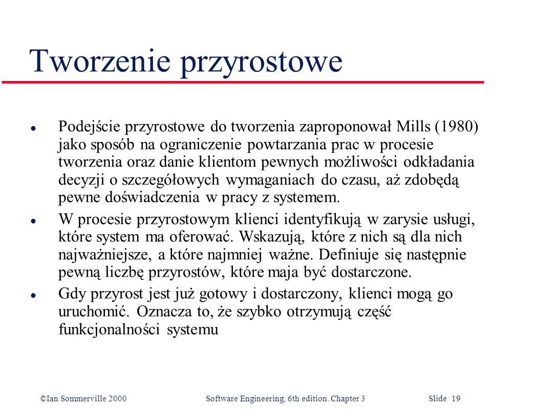 ©Ian Sommerville 2000 Software Engineering, 6th edition. Chapter 3 Slide 19 Tworzenie przyrostowe l Podejście przyrostowe do tworzenia zaproponował Mi