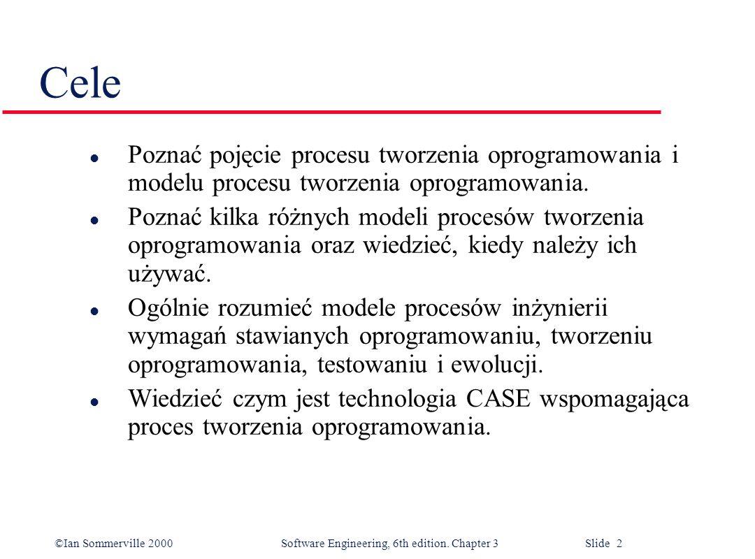 ©Ian Sommerville 2000 Software Engineering, 6th edition. Chapter 3 Slide 2 Cele l Poznać pojęcie procesu tworzenia oprogramowania i modelu procesu two