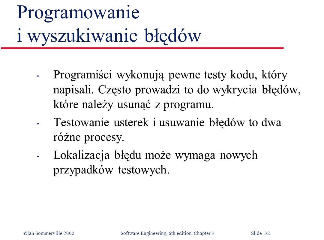 ©Ian Sommerville 2000 Software Engineering, 6th edition. Chapter 3 Slide 32 Programowanie i wyszukiwanie błędów Programiści wykonują pewne testy kodu,