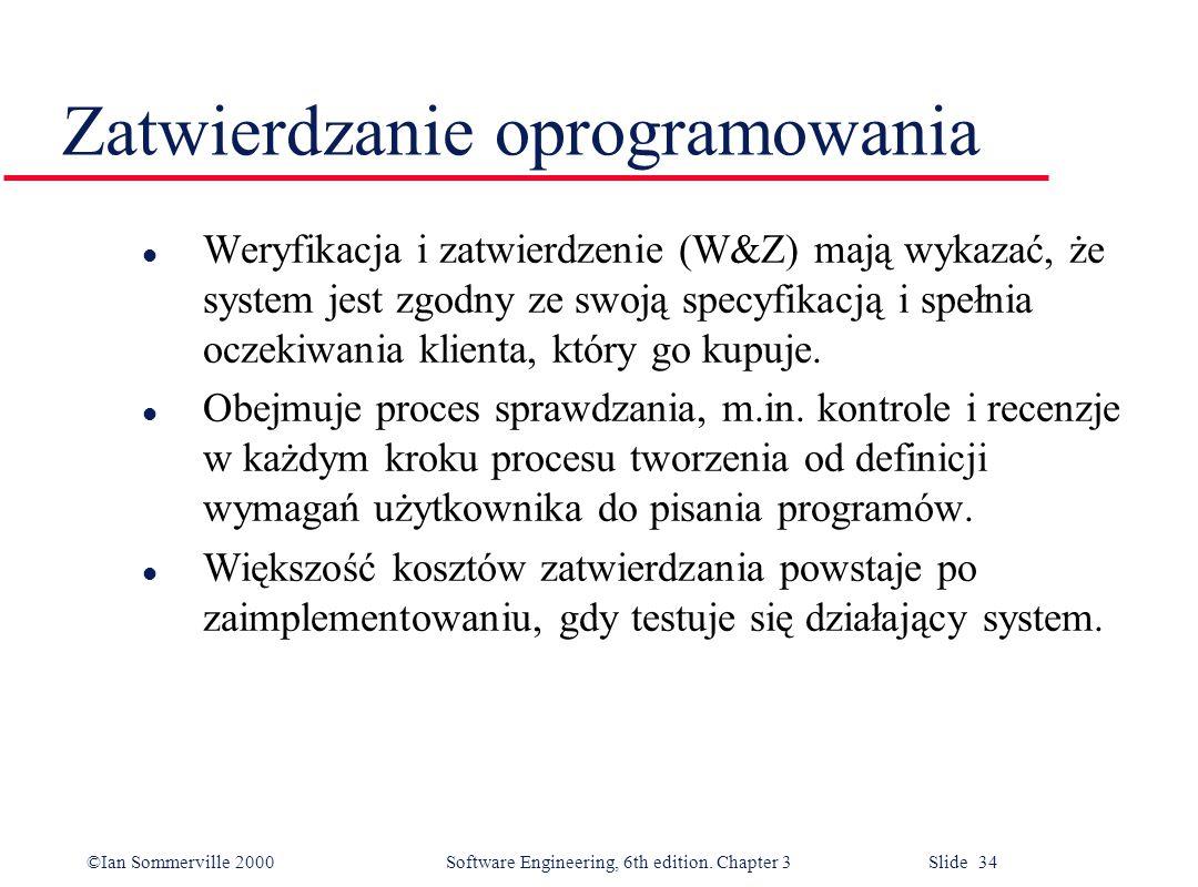 ©Ian Sommerville 2000 Software Engineering, 6th edition. Chapter 3 Slide 34 Zatwierdzanie oprogramowania l Weryfikacja i zatwierdzenie (W&Z) mają wyka