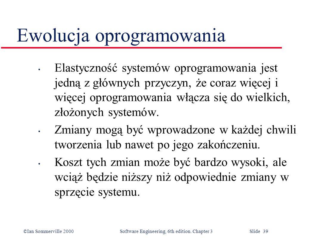 ©Ian Sommerville 2000 Software Engineering, 6th edition. Chapter 3 Slide 39 Ewolucja oprogramowania Elastyczność systemów oprogramowania jest jedną z