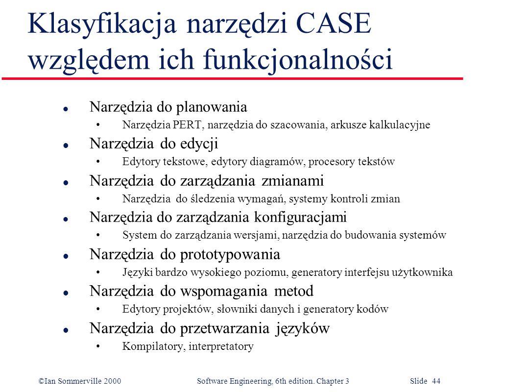 ©Ian Sommerville 2000 Software Engineering, 6th edition. Chapter 3 Slide 44 Klasyfikacja narzędzi CASE względem ich funkcjonalności l Narzędzia do pla