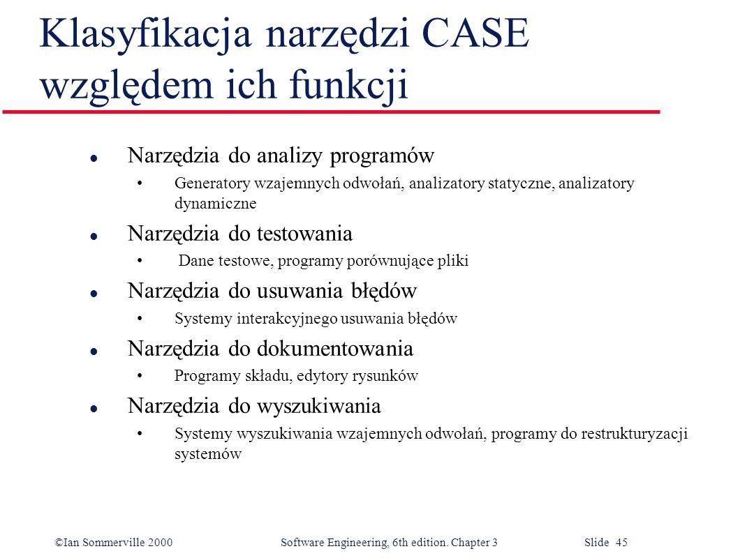 ©Ian Sommerville 2000 Software Engineering, 6th edition. Chapter 3 Slide 45 Klasyfikacja narzędzi CASE względem ich funkcji l Narzędzia do analizy pro