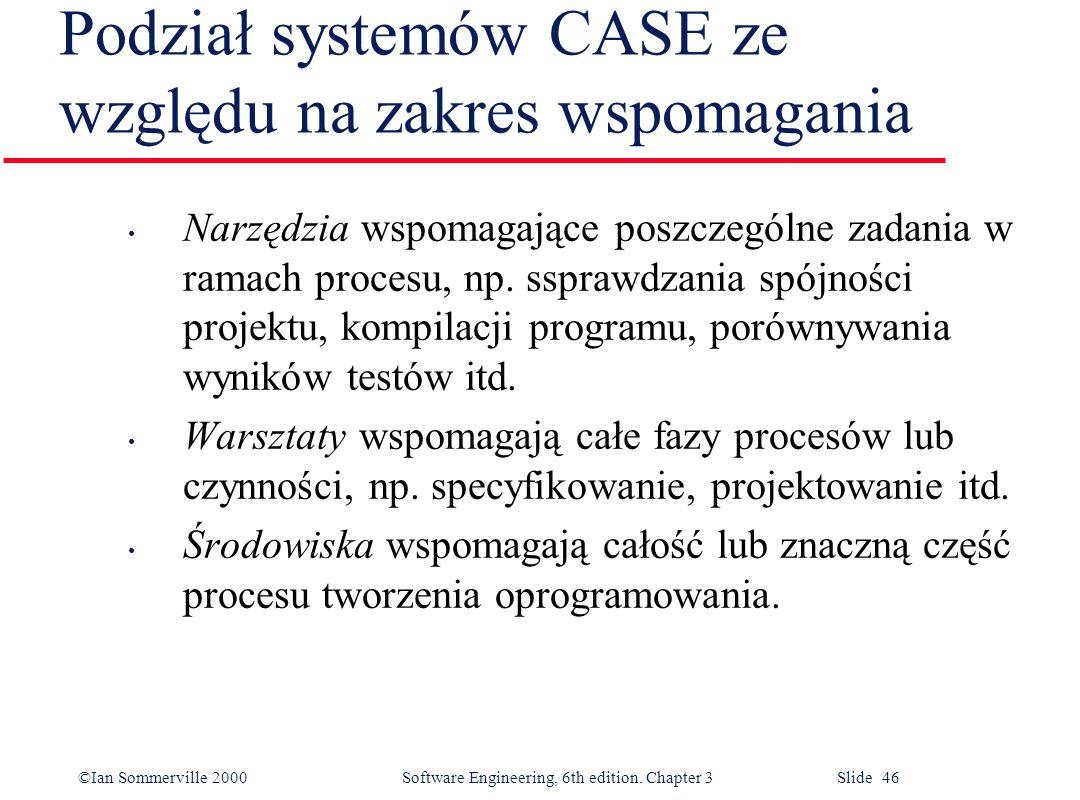 ©Ian Sommerville 2000 Software Engineering, 6th edition. Chapter 3 Slide 46 Podział systemów CASE ze względu na zakres wspomagania Narzędzia wspomagaj