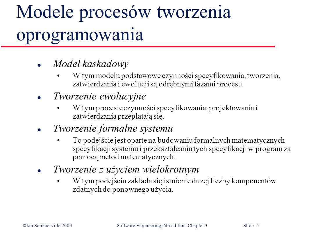 ©Ian Sommerville 2000 Software Engineering, 6th edition. Chapter 3 Slide 5 Modele procesów tworzenia oprogramowania l Model kaskadowy W tym modelu pod