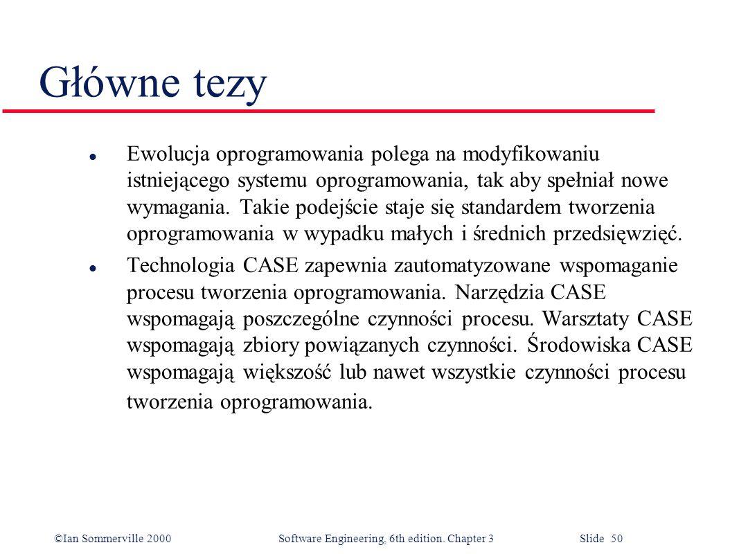 ©Ian Sommerville 2000 Software Engineering, 6th edition. Chapter 3 Slide 50 Główne tezy l Ewolucja oprogramowania polega na modyfikowaniu istniejącego