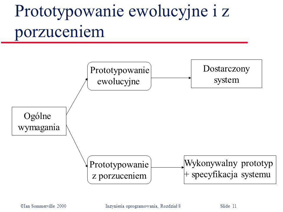 ©Ian Sommerville 2000 Inżynieria oprogramowania, Rozdział 8 Slide 11 Prototypowanie ewolucyjne i z porzuceniem Ogólne wymagania Dostarczony system Prototypowanie z porzuceniem Prototypowanie ewolucyjne Wykonywalny prototyp + specyfikacja systemu