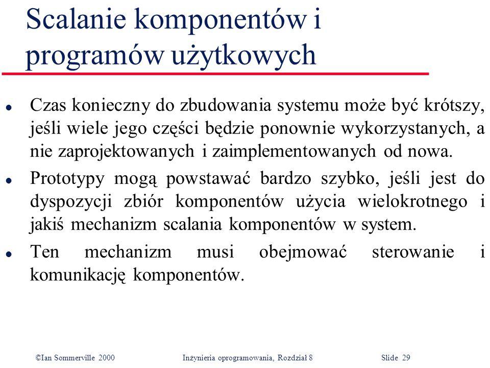 ©Ian Sommerville 2000 Inżynieria oprogramowania, Rozdział 8 Slide 29 Scalanie komponentów i programów użytkowych l Czas konieczny do zbudowania system