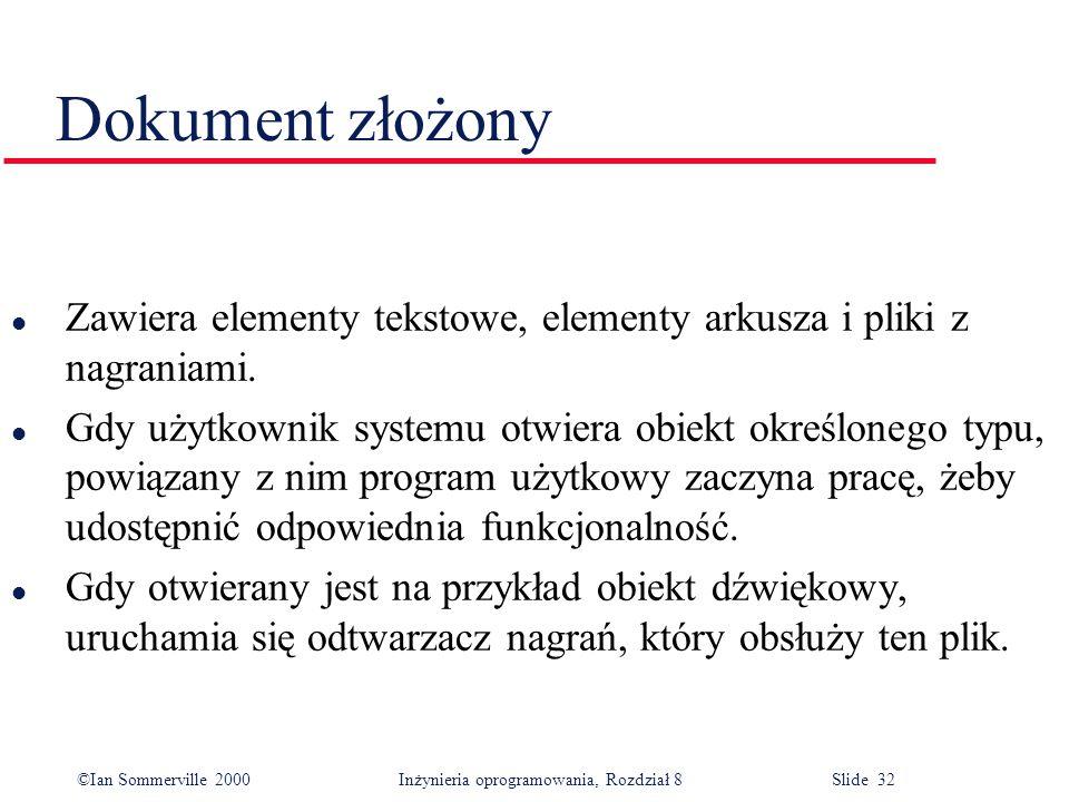 ©Ian Sommerville 2000 Inżynieria oprogramowania, Rozdział 8 Slide 32 Dokument złożony l Zawiera elementy tekstowe, elementy arkusza i pliki z nagraniami.