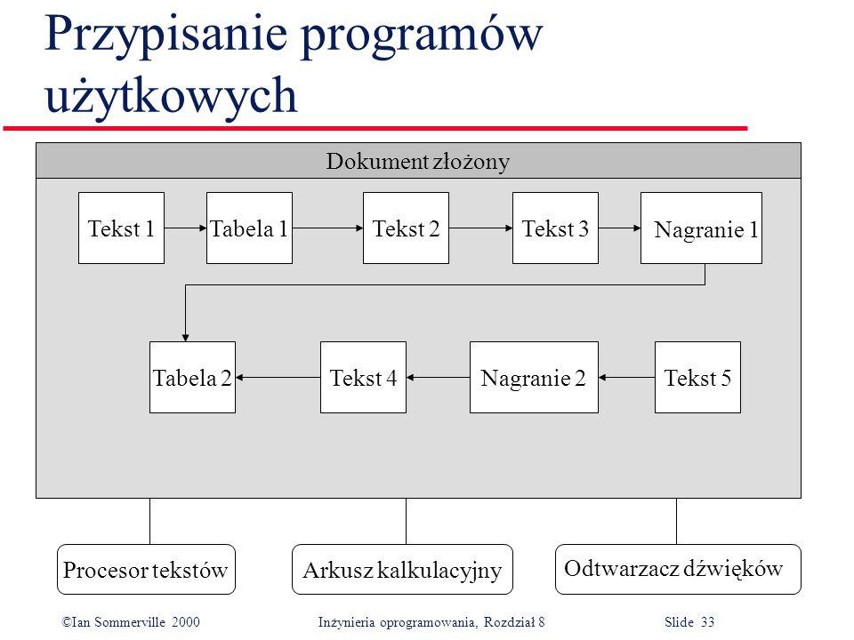 ©Ian Sommerville 2000 Inżynieria oprogramowania, Rozdział 8 Slide 33 Przypisanie programów użytkowych Dokument złożony Tekst 5Nagranie 2Tekst 4Tabela