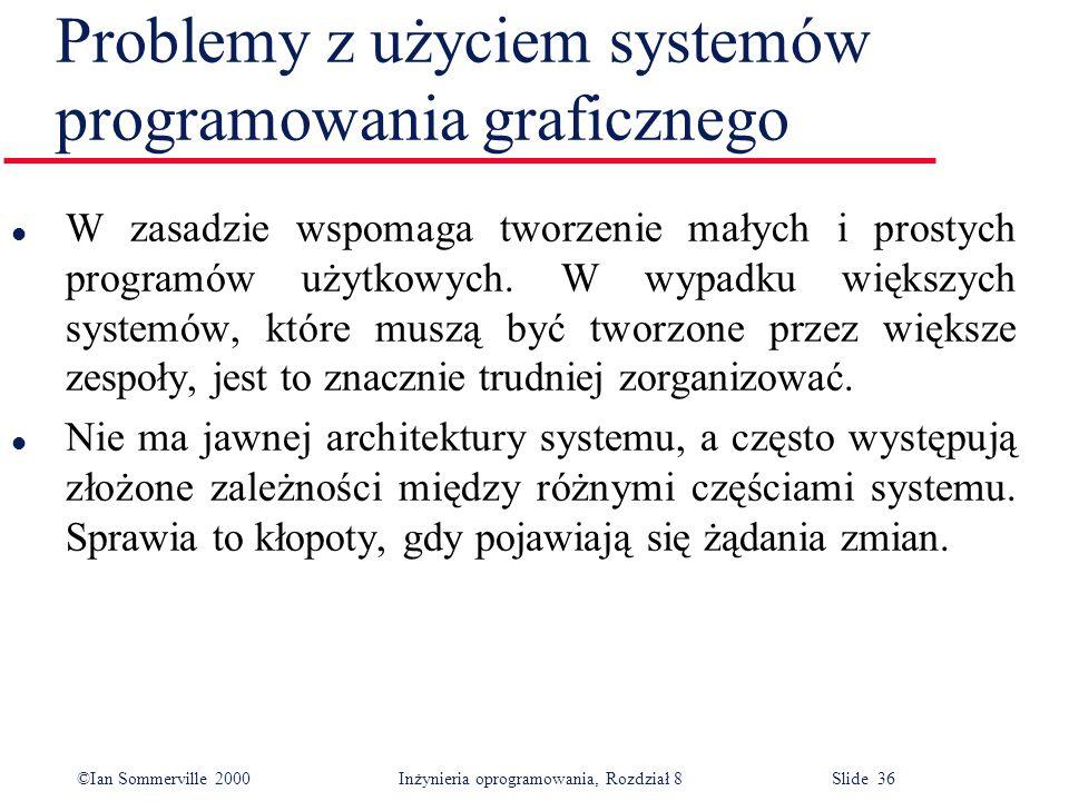 ©Ian Sommerville 2000 Inżynieria oprogramowania, Rozdział 8 Slide 36 Problemy z użyciem systemów programowania graficznego l W zasadzie wspomaga tworzenie małych i prostych programów użytkowych.