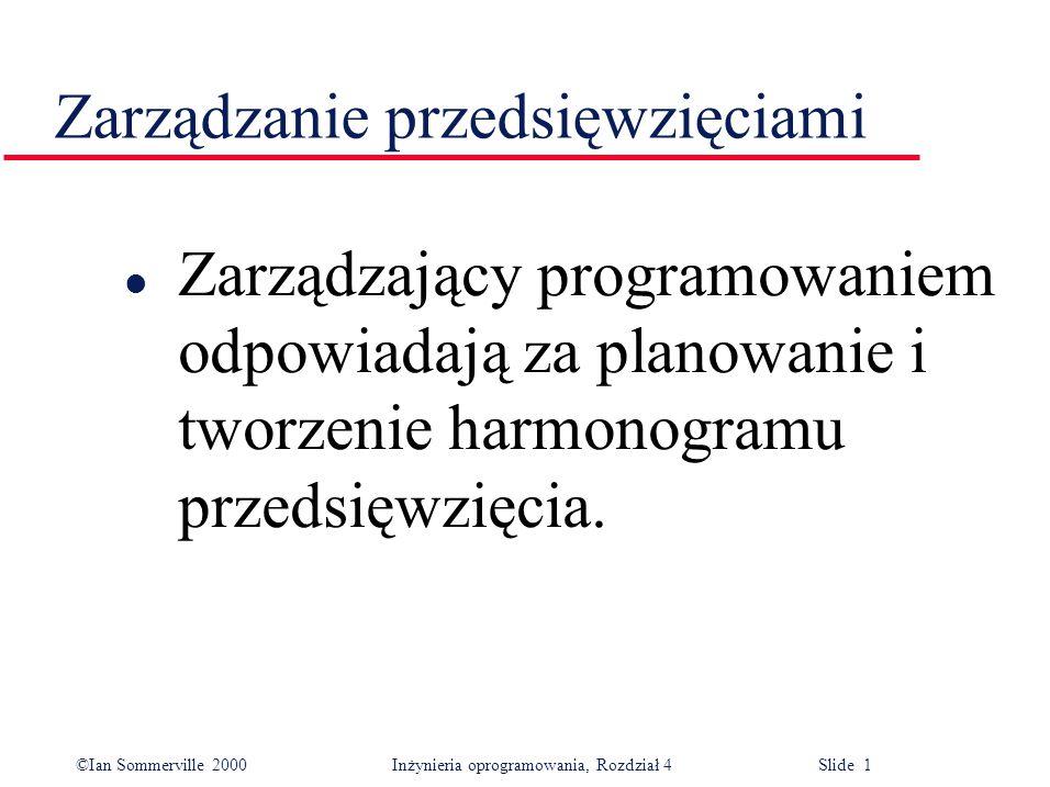 ©Ian Sommerville 2000Inżynieria oprogramowania, Rozdział 4 Slide 1 Zarządzanie przedsięwzięciami l Zarządzający programowaniem odpowiadają za planowanie i tworzenie harmonogramu przedsięwzięcia.