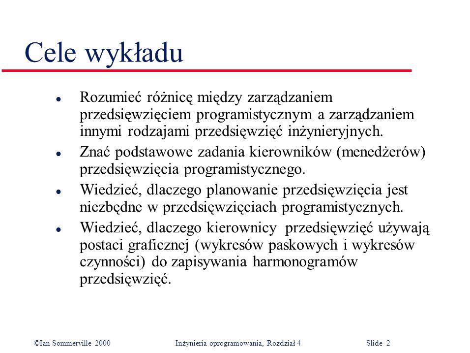 ©Ian Sommerville 2000Inżynieria oprogramowania, Rozdział 4 Slide 2 Cele wykładu l Rozumieć różnicę między zarządzaniem przedsięwzięciem programistyczn