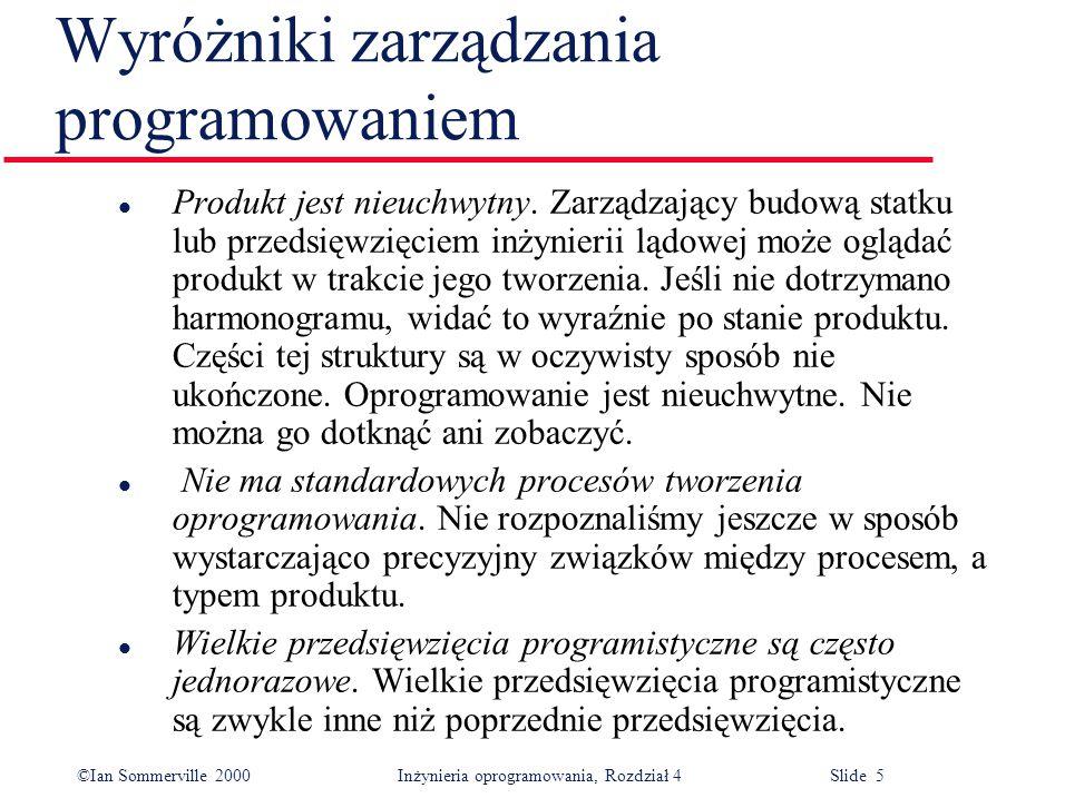 ©Ian Sommerville 2000Inżynieria oprogramowania, Rozdział 4 Slide 5 l Produkt jest nieuchwytny.