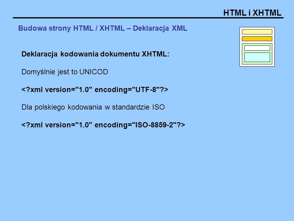 HTML i XHTML Budowa strony HTML / XHTML – Deklaracja XML Deklaracja kodowania dokumentu XHTML: Domyślnie jest to UNICOD Dla polskiego kodowania w standardzie ISO