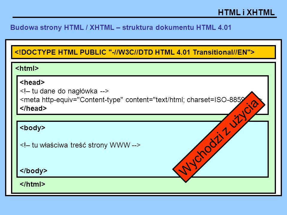 HTML i XHTML Budowa strony HTML / XHTML – struktura dokumentu HTML 4.01 Wychodzi z użycia