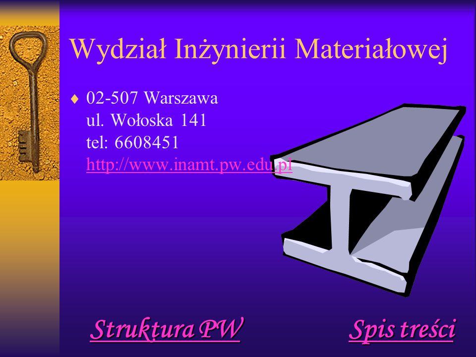 Wydział Inżynierii Materiałowej  02-507 Warszawa ul.