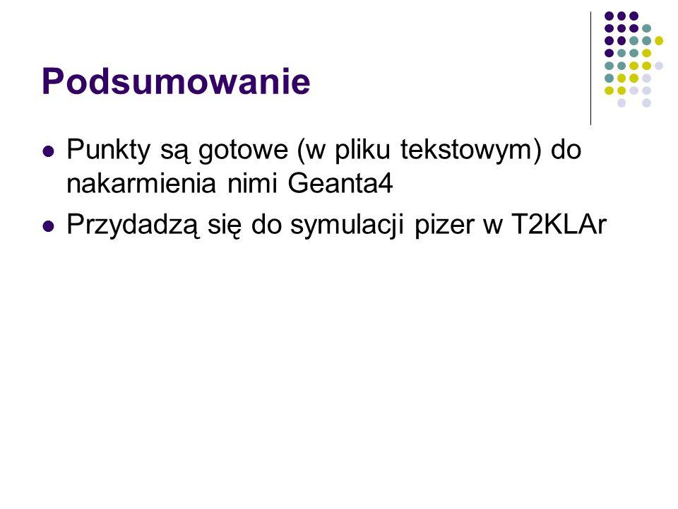 Podsumowanie Punkty są gotowe (w pliku tekstowym) do nakarmienia nimi Geanta4 Przydadzą się do symulacji pizer w T2KLAr
