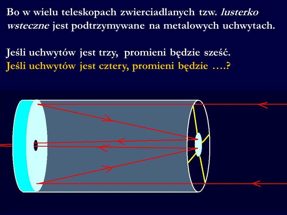 Bo w wielu teleskopach zwierciadlanych tzw. lusterko wsteczne jest podtrzymywane na metalowych uchwytach. Jeśli uchwytów jest trzy, promieni będzie sz