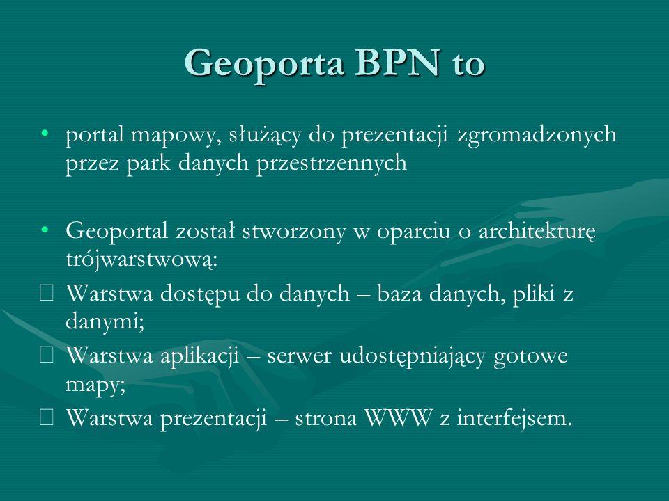 Geoporta BPN to portal mapowy, służący do prezentacji zgromadzonych przez park danych przestrzennych Geoportal został stworzony w oparciu o architekturę trójwarstwową:  Warstwa dostępu do danych – baza danych, pliki z danymi;  Warstwa aplikacji – serwer udostępniający gotowe mapy;  Warstwa prezentacji – strona WWW z interfejsem.