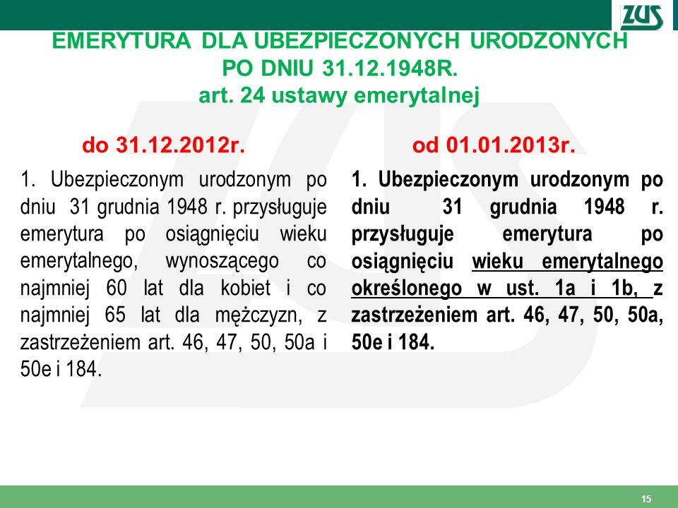 EMERYTURA DLA UBEZPIECZONYCH URODZONYCH PO DNIU 31.12.1948R.