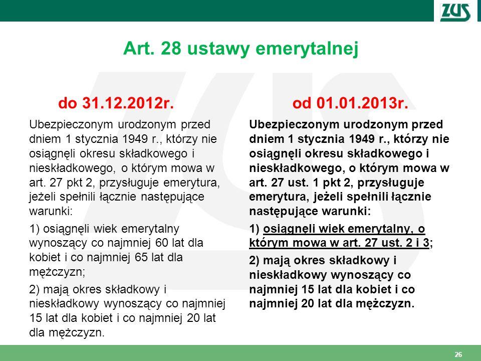 Art.28 ustawy emerytalnej do 31.12.2012r.