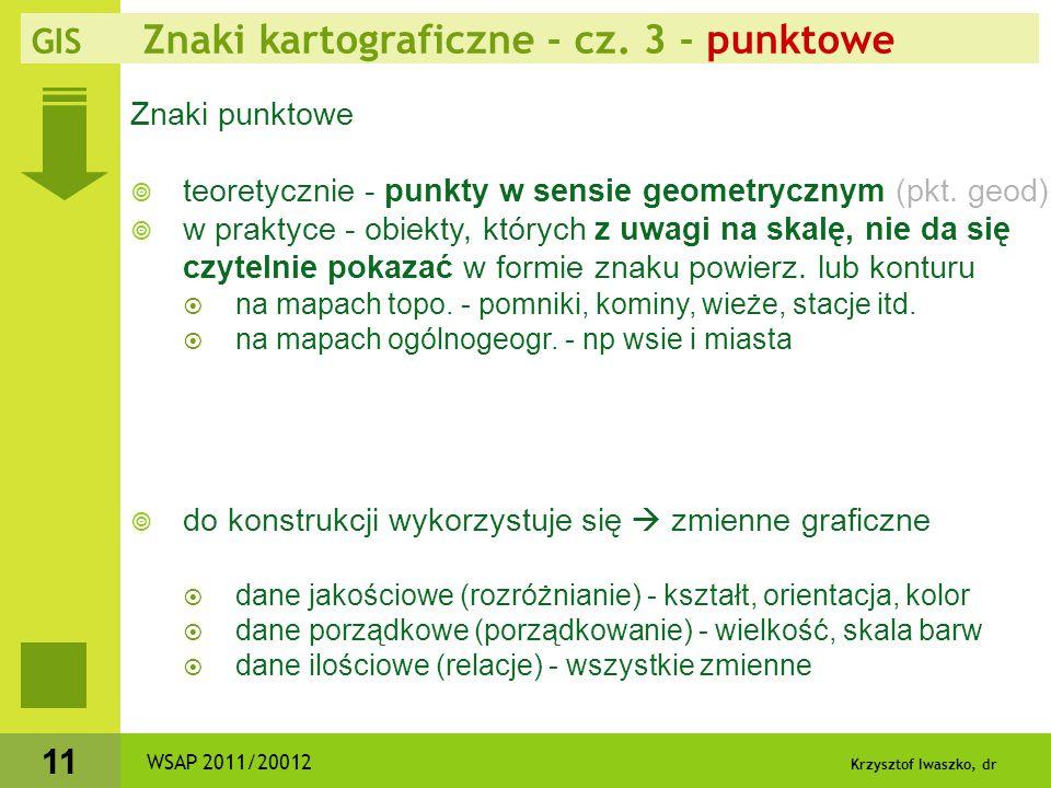 Krzysztof Iwaszko, dr 12  identyfikacja położenia znaku punktowego  proste figury - środek  symbole z podstawą - jej środek  znaki złożone - środek dolnej figury  ale też jako graficzny opis miejscowości - symbole obok nazwy WSAP 2011/20012 GIS Znaki kartograficzne - cz.
