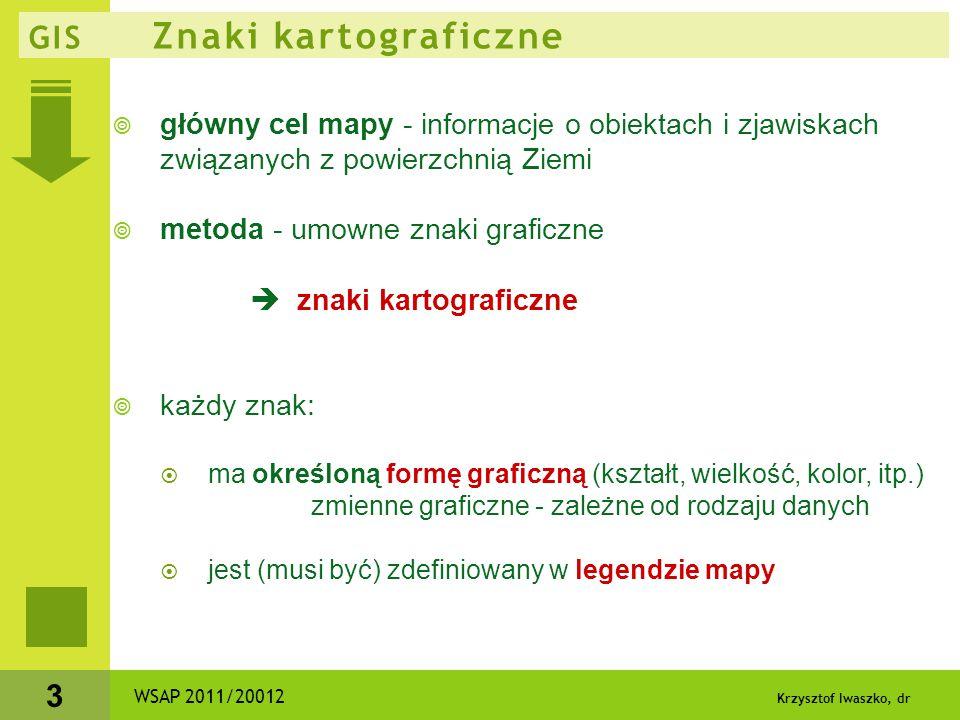 Krzysztof Iwaszko, dr 3 GIS Znaki kartograficzne  główny cel mapy - informacje o obiektach i zjawiskach związanych z powierzchnią Ziemi  metoda - um
