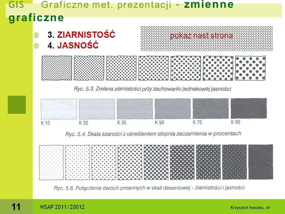 Krzysztof Iwaszko, dr 11 GIS Graficzne met. prezentacji - zmienne graficzne  3. ZIARNISTOŚĆ  4. JASNOŚĆ WSAP 2011/20012 pokaz nast strona