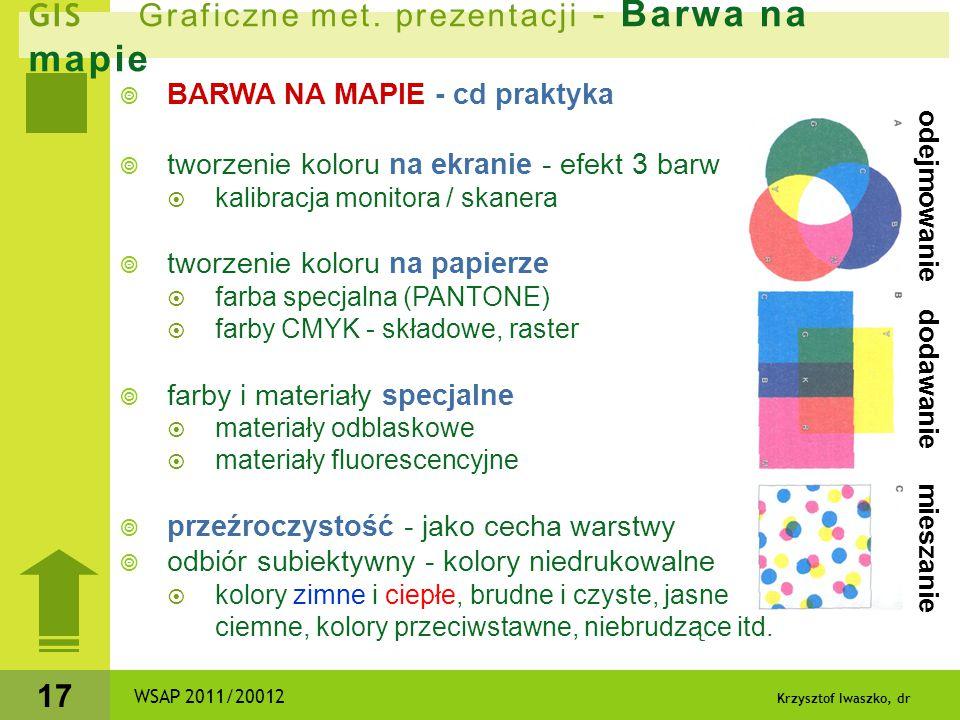 Krzysztof Iwaszko, dr 17  BARWA NA MAPIE - cd praktyka  tworzenie koloru na ekranie - efekt 3 barw  kalibracja monitora / skanera  tworzenie kolor