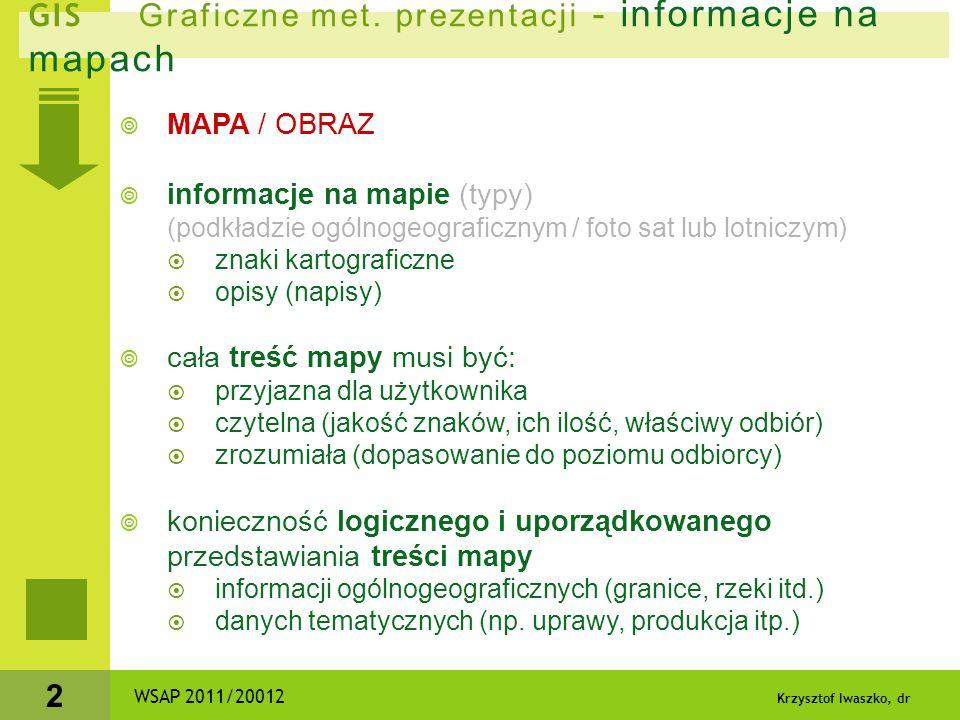 Krzysztof Iwaszko, dr 2 GIS Graficzne met. prezentacji - informacje na mapach  MAPA / OBRAZ  informacje na mapie (typy) (podkładzie ogólnogeograficz