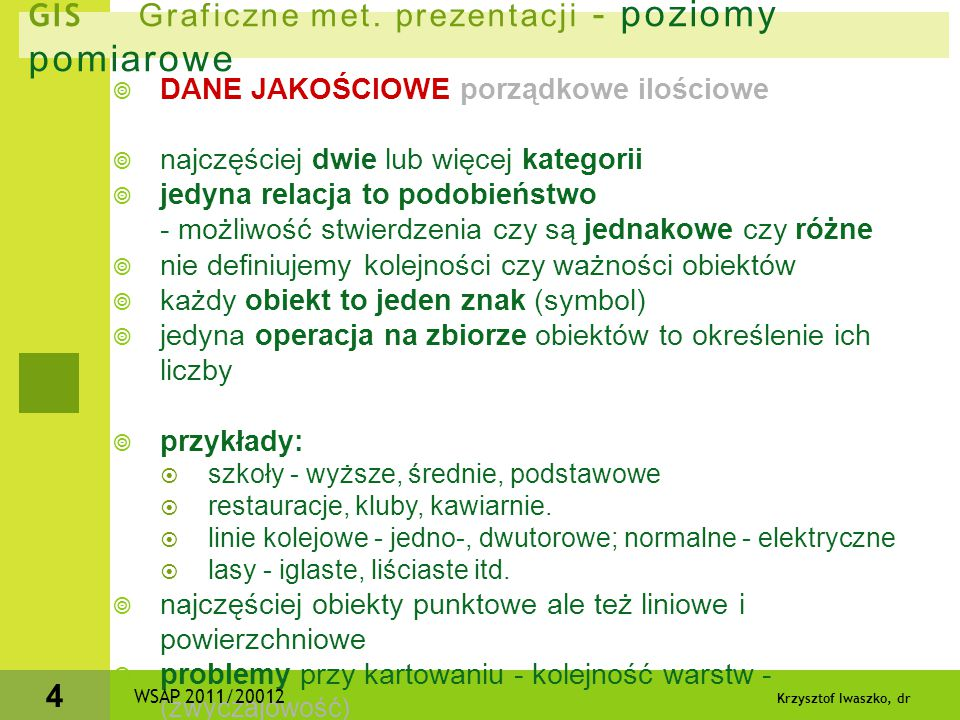 Krzysztof Iwaszko, dr 4 GIS Graficzne met. prezentacji - poziomy pomiarowe  DANE JAKOŚCIOWE porządkowe ilościowe  najczęściej dwie lub więcej katego