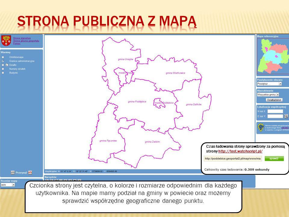 Przerysowanie mapy Warstwy dostępne na mapie Mapa referencyjna powiatu Opcja umożliwiająca wyszukanie działki poprzez jej podmiot lub numer Opcja umożliwiająca znalezienie punktu poprzez podanie współrzędnych Powiększenie obszaru Pomniejszenie obszaru Pokazanie całości Pomiar odległości i powierzchni Przesuwanie mapy Poprzednie powiększenie Następne powiększenie Informacje o obiekcie