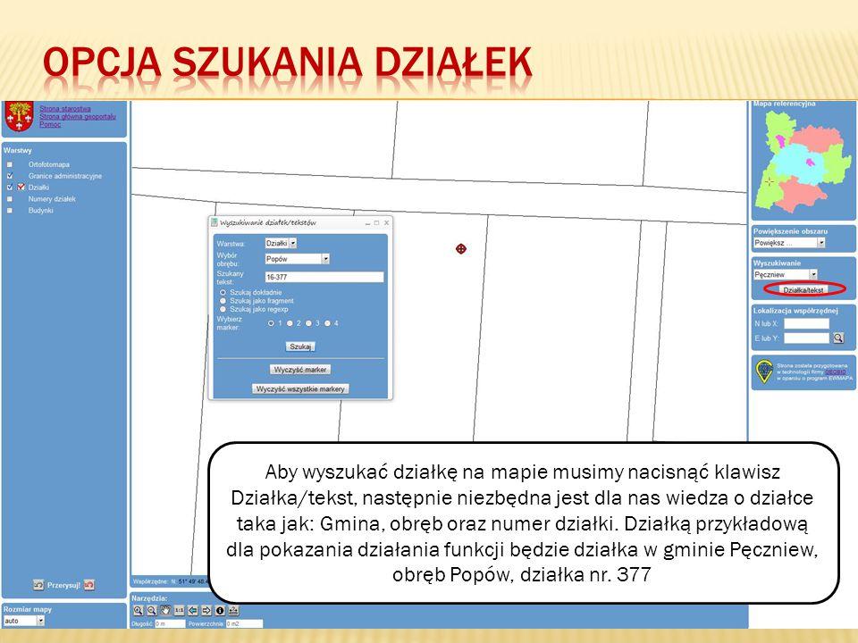 Aby wyszukać działkę na mapie musimy nacisnąć klawisz Działka/tekst, następnie niezbędna jest dla nas wiedza o działce taka jak: Gmina, obręb oraz numer działki.