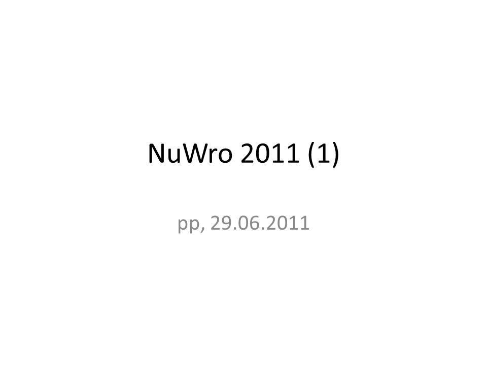 Co zrobilem Wygenerowalem 100.000 przypadkow w NuWro, z wiazka i geometria detektora do sprawdzenia NuWro – #ND280 geometry – geo_file=target/ND280.root – geo_name=ND280Geometry – geo_o = 0 0 0 // coordinates of the center of the box: ox oy oz – geo_d = 2000 2000 5000 // half dimension of the box: dx dy dx i 1000 przypadkow do wrzucenia do ND280.