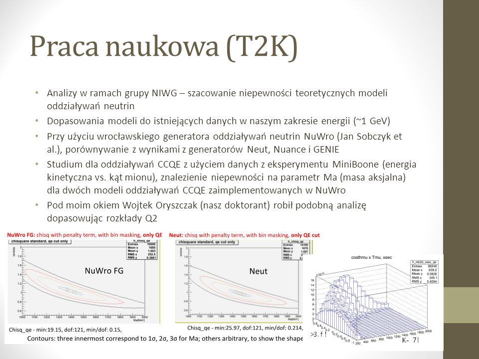 Praca naukowa (T2K) Analizy w ramach grupy NIWG – szacowanie niepewności teoretycznych modeli oddziaływań neutrin Dopasowania modeli do istniejących danych w naszym zakresie energii (~1 GeV) Przy użyciu wrocławskiego generatora oddziaływań neutrin NuWro (Jan Sobczyk et al.), porównywanie z wynikami z generatorów Neut, Nuance i GENIE Studium dla oddziaływań CCQE z użyciem danych z eksperymentu MiniBoone (energia kinetyczna vs.