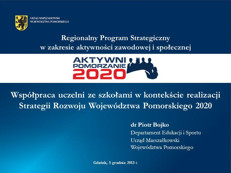 Strategia Rozwoju Województwa Pomorskiego 2020 (wrzesień 2012) –strategiczne wybory i cele konieczne do zrealizowania 6 Regionalnych Programów Strategicznych –zasadnicze narzędzia realizacji strategii –rozwinięcie zapisów strategii –wskazanie działań oraz przedsięwzięć pozwalających na osiągnięcie wyznaczonych celów Regionalny Program Operacyjny na lata 2014-2020 –zakres tematyczny wynikający z Regionalnych Programów Strategicznych, z uwzględnieniem obowiązujących regulacji na poziomie unijnym i krajowym Strategia → 6 RPS → RPO 2014-2020