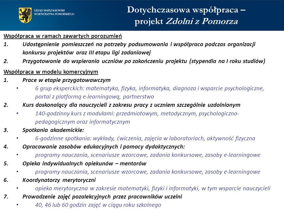 Współpraca w ramach zawartych porozumień 1.Udostępnienie pomieszczeń na potrzeby podsumowania i współpraca podczas organizacji konkursu projektów oraz