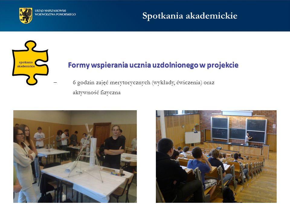 spotkania akademickie  6 godzin zajęć merytorycznych (wykłady, ćwiczenia) oraz aktywność fizyczna Formy wspierania ucznia uzdolnionego w projekcie Sp