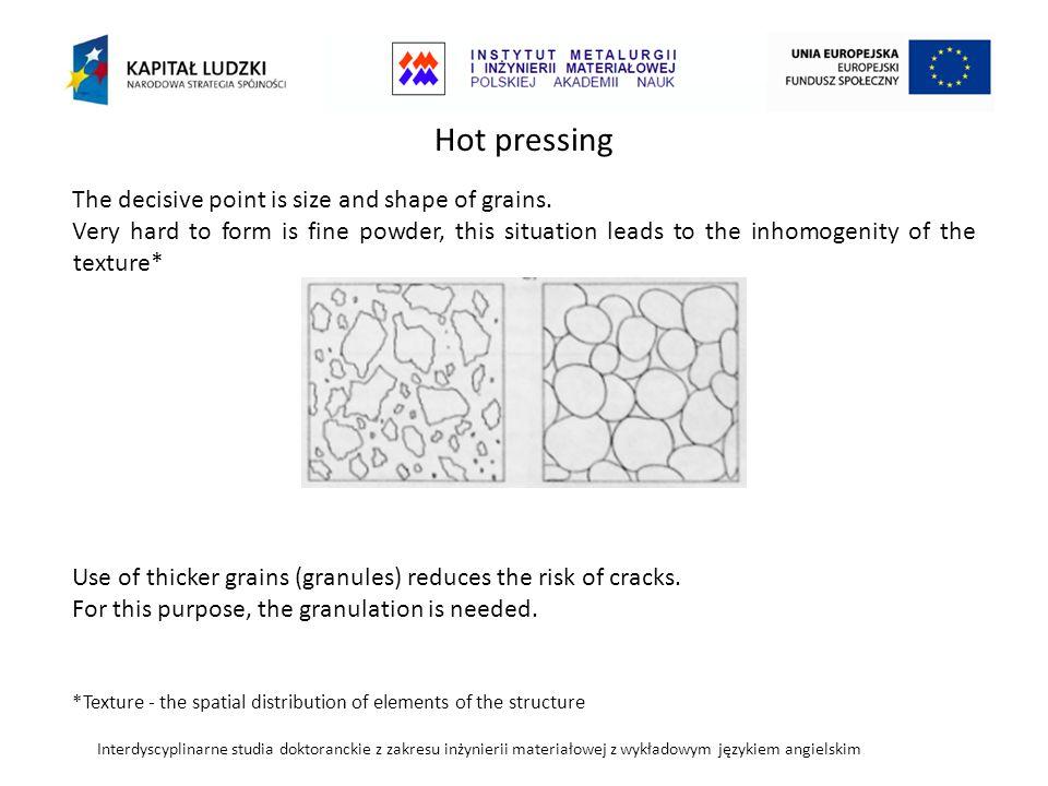 Interdyscyplinarne studia doktoranckie z zakresu inżynierii materiałowej z wykładowym językiem angielskim Hot pressing The decisive point is size and shape of grains.