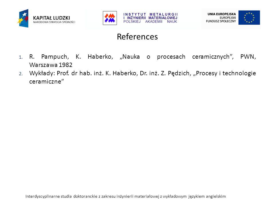 Interdyscyplinarne studia doktoranckie z zakresu inżynierii materiałowej z wykładowym językiem angielskim References 1.